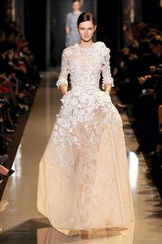 elie saab couture spring 2013 marble white cocoon embroiderd lace guipure gown sleeves
