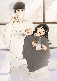 A cup of warm citron tea on a winter rainy day. Couple Cartoon Characters, Cute Couple Cartoon, Cute Couple Art, Anime Love Couple, Anime Cupples, Kawaii Anime, Anime Art, Couple Illustration, Character Illustration