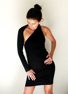 Party Dress / Unique Black One Shoulder Long Sleeve Dress - Donation to UNICEF - Model 02-1 on Etsy, $75.00