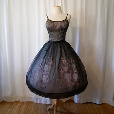 Darling 1950's black sheer silk chiffon party prom by wearitagain, $250.00