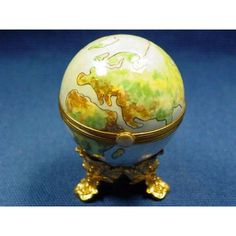 GLOBE ON STAND -Limoges Import Boxes-Travel