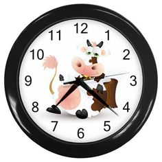 Cartoon Milk Cow Plastic Black Frame Battery Operated Novelty Kitchen Wall Clock #CustomMade #Novelty #clock #kitchen #cow