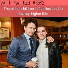The eldest children have higher IQs WTF fun facts