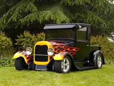1929 Ford Pick Up Truck Black With Flames 3/4