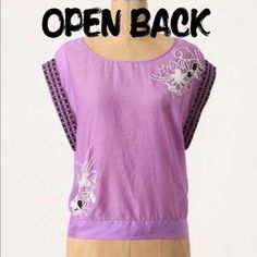 I just discovered this while shopping on Poshmark: Anthro Purple Embroidered Beaded Farren Blouse SzL. Check it out!  Size: L