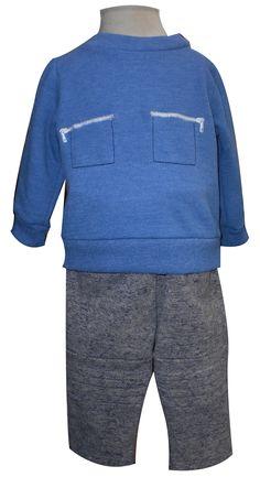 Sudadera manga larga con pretina y cuello y pantalón con alforzas. Tallas 3, 6, 12 y 18 meses.