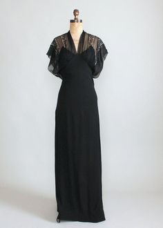 1930s black lace and crepe evening dress
