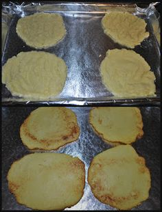 Cauliflower Tortillas  1.5 cups Cauliflower (cooked) 1/2 cup of Eggbeaters Preheat oven to 375 degrees.  Can use frozen cauliflower made in microwave per bag's directions. Squeeze out any water using paper towel  Using a food processor, blend together the cauliflower and Egg Beaters. Line cookie sheet with parchment paper or foil/parchment combo paper.  Scoop out to make 4 tortillas.  Bake for 15 minutes, then flip and bake for another 10 minutes.  This recipe counts for 3 green and 1/4…