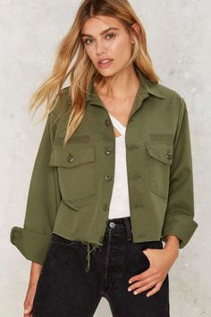 After Party by Nasty Gal Crop Sign Army Jacket - Clothes | After Party | Fall Essentials | Bomber + Utility | Jackets + Coats