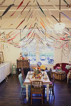 Interesting idea for streamers. Fabric scraps tied together. For the right theme, this could be really cute, and really inexpensive.