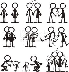 Stick Figure People Familiy who love each other as they grow together.