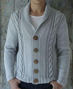 Knitted Coat Pattern, Sweater Knitting Patterns, Jacket Pattern, Free Knitting, Coat Patterns, Men Sweater, Mens Fashion, Crochet, Garter Stitch