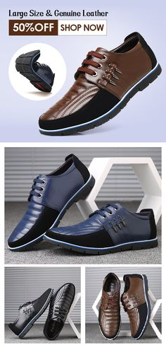 79416347670  50%off Large Size Men Genuine Leather Splicing Non-slip Soft Casual