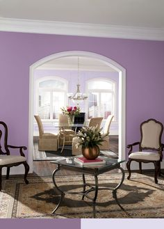 Wood Violet paint color SW 6557 by Sherwin-Williams. View interior and exterior paint colors and color palettes. Get design inspiration for painting projects. Purple Paint Colors, Interior Paint Colors, Paint Colors For Home, House Colors, Kitchen Wall Colors, Bathroom Colors, Room Color Schemes, Room Paint, House Design