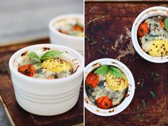 Baked eggs with swiss chard, parmesan and roasted tomatoes #breakfast
