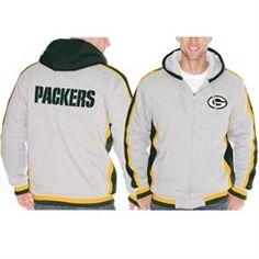 Green Bay Packers Gray Sweep Right Full Zip Fleece Hoodie
