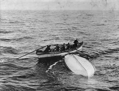 The Titanic's last lifeboat: Contained 3 rotting bodies – including a man still in his dinner jacket – was found 200 miles by passing liner a month later.  Collapsible Boat B, found adrift by the ship Mackay-Bennett during its mission to recover the bodies of those who died in the disaster. After getting to the lifeboat, the crew discovered the bodies of 2 firemen who worked in Titanic's engine room & a 1st class passenger still dressed in his dinner attire, identified later as Thomson…