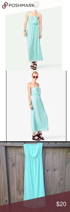 Mint Maxi Dress Strapless mint maxi dress. Super pretty and light for summer. Never worn Forever 21 Dresses Maxi