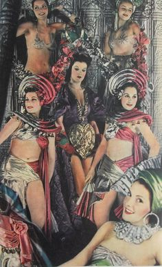1940s Burlesque showgirl outfits bandeau tops skirts hats red silver Asian