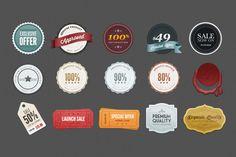 Flat Badge Set (PSD)