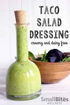 This dairy free taco salad dressing is creamy, full of flavor, and easy to make. Perfect for summer salads! Or use it as a snack time dip for raw veggies.