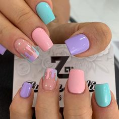Gel Manicure Nails, Cute Gel Nails, Glow Nails, Pretty Nails, Short Gel Nails, Square Gel Nails, Short Square Acrylic Nails, Acrylic Dip Nails, Acrylic Nails Coffin Short