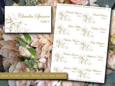 DIY Wedding Place Cards Template | Flourishing Hearts Blush Pink Antique Gold Escort Card | Wedding Table Card | Escort Cards DIY Wedding by PaintTheDayDesigns on Etsy