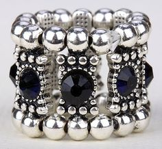 Dark Blue Swarovski Crystal Stretch Ring Jewelry A1 Matching Bracelet Available | eBay