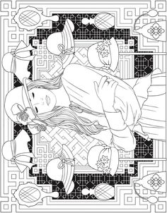 ESCAPES Fashion Art Coloring Book by: Marty Noble - Welcome to Dover Publications - Coloring Page 1