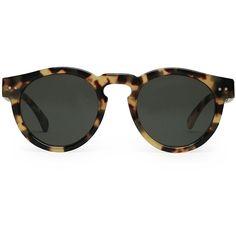 Illesteva Leonard Sunglasses (€135) ❤ liked on Polyvore featuring accessories, eyewear, sunglasses, glasses, sunnies, tortoise, matte lens sunglasses, rounded sunglasses, matte tortoise sunglasses and round tortoiseshell glasses