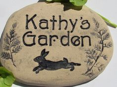 Personalized Garden sign with Rabbit / Custom name stone.