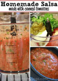 This homemade salsa recipe - easy, simple, and delicious ... is just like what you'd get at a restaurant. This is the easiest way to make fresher salsa and not have to eat jarred again - I'll never go back to jarred salsa again!