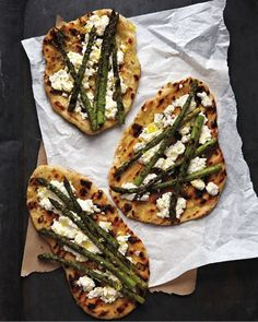 Grilled asparagus and ricotta pizza, martha stewart via lauren conrad