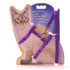 Cat Harness Nylon Adjustable Safety Control Restraint Cat Harness Soft Walk Vest Cat Collar wholesale