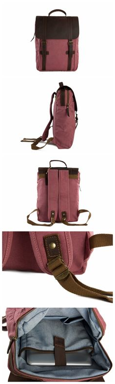 Leather-Canvas Backpack Laptop Bag Travel Bag Unisex Backpack