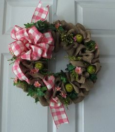 Spring Burlap Wreath with Beautiful Pink by PJCreativeWreaths, $45.00