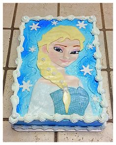 """A """"Frozen"""" Elsa sheet cake :)"""