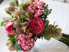 garden roses, heliborus & bouvardia