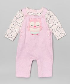 Vitamins Baby Pink Owl Bodysuit & Overalls - Infant | zulily