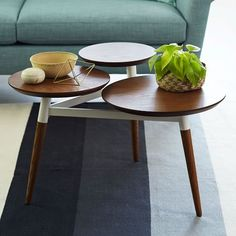 Clover Coffee Table (use as bedside table for platform bed ) – Pecan/White | West Elm
