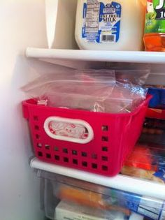 Snack Bin in the fridge filled with pre-made snacks so they can get their own snack! Makes them feel like a big kid! -I need to feel like a big kid. lol