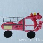 footprint art: fire truck crafts for boys Crafts For Boys, Crafts To Do, Projects For Kids, Art For Kids, Arts And Crafts, Family Crafts, Craft Activities, Preschool Crafts, Childcare Activities