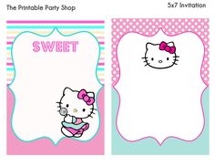 Visit the post for more. Hello Kitty Invitations, Boarders And Frames, Blog Backgrounds, Invitation Background, Bird Party, Party Invitations, Invite, Party Shop, Printable Stickers