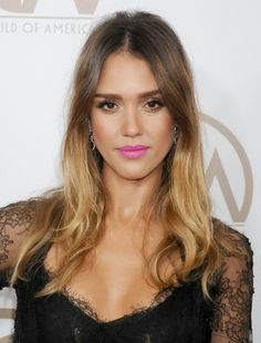 Pair a radiant, bronzed complexion with a bright pink pout like Jessica Alba's for a fun weekend beauty look.
