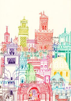 Love the colorful linework of the Marrakech Towers by artist Cheism.