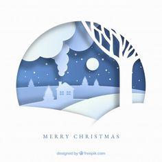 Fondo de feliz navidad en estilo de papel Vector Gratis