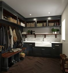 Organisational heaven is just a few steps away… bespoke black finish bootroom with large sink and practical storage solution by mark wilson furniture Mudroom Laundry Room, Laundry Room Design, Boot Room Utility, Utility Room Storage, Boot Room Storage, Utility Room Sinks, Utility Shelves, Coat Storage, Utility Sink