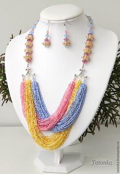 Variation on this without seed beads Seed Bead Necklace, Seed Bead Jewelry, Bead Jewellery, Diy Necklace, Necklace Tutorial, Necklace Ideas, Seed Beads, Unique Necklaces, Handmade Necklaces