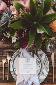 Southwest bohemian wedding table-setting