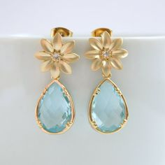 Aquamarine Gold Earrings Daisy Posts with by poetryjewelry
